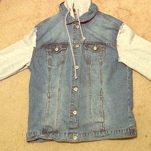 Vintage knit hooded boyfriend jean jacket